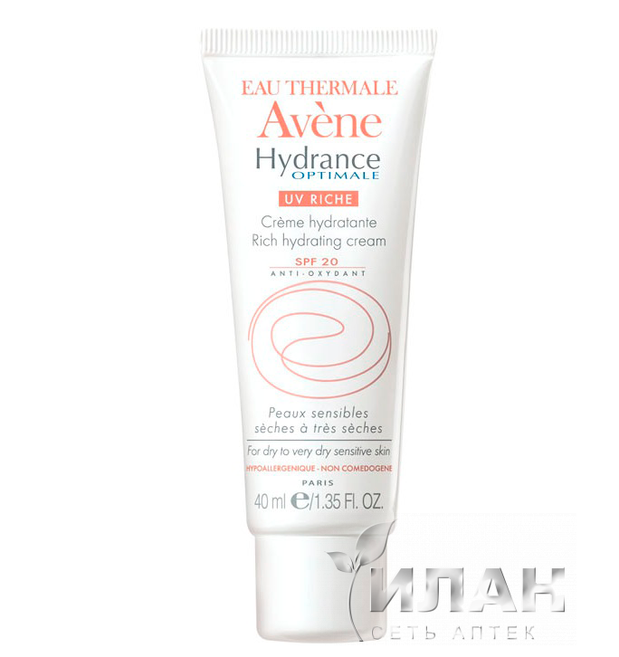 Авен Гидранс Оптималь UV20 Риш Увлажняющий защитный крем (Avene Hydrance Optimale UV Rich SPF 20 protective hydrating cream)